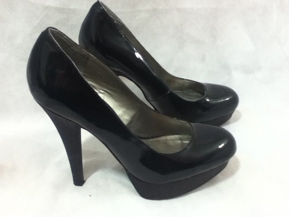 1e60814403e G By Guess Black Patent Leather Glitter Platform High Heels Pumps Size 7.5  M  GUESS  PlatformsWedges