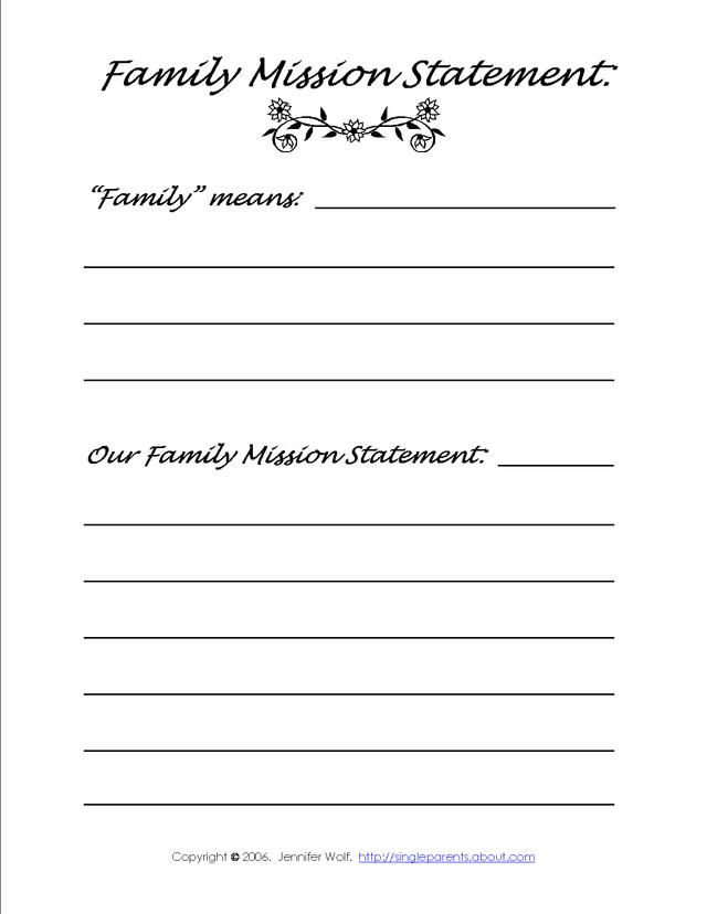 personal mission statement worksheet