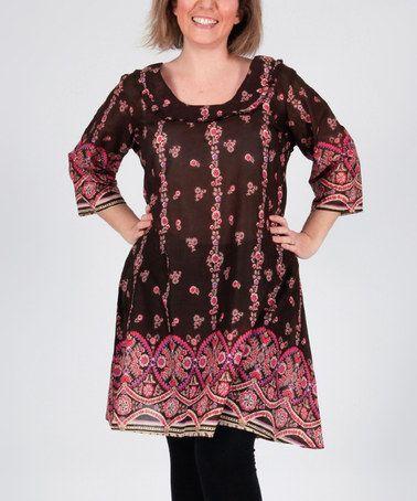 Look what I found on #zulily! Black & Fuchsia Arabesque Scoop Neck Tunic - Women #zulilyfinds