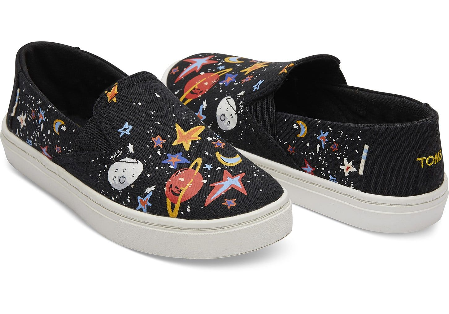 8b0a9d57e3c Black Canvas Glow In The Dark Cosmic Print Youth Luca Slip-Ons ...