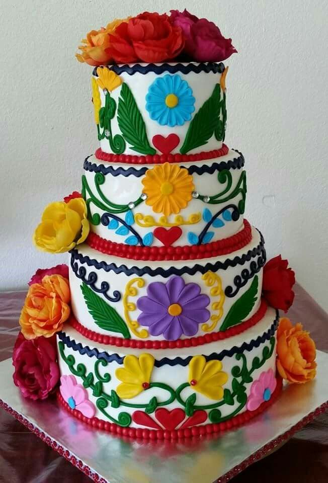 Mexican themed wedding cake