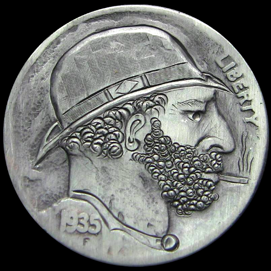 MATTHEW PETITDEMANGE HOBO NICKEL - THE SMOKER - 1935 BUFFALO PROFILE