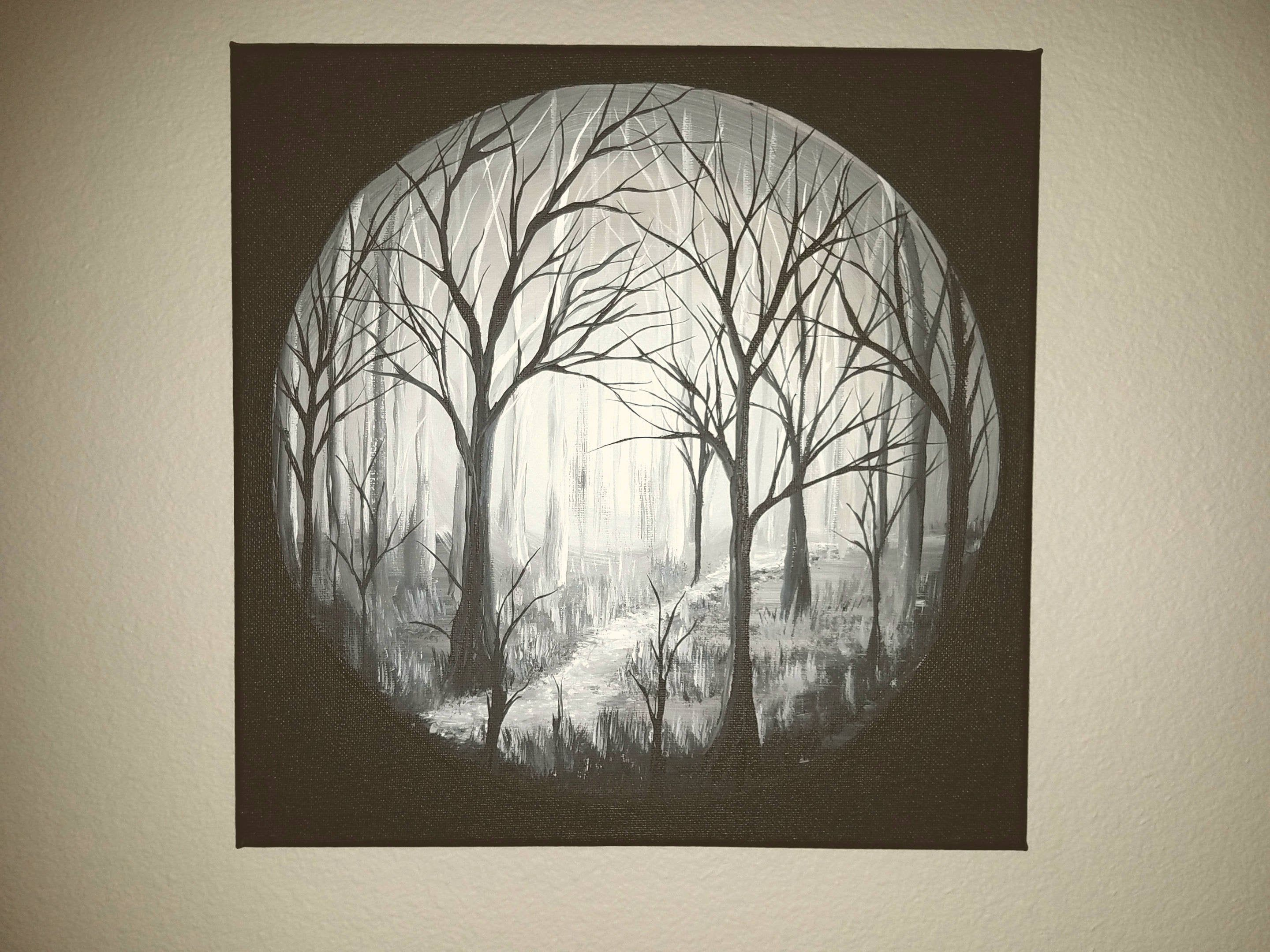Tree Painting Of Trees Black And White Art Gray Painting Canvas Wall Decor Original Painting Gray Wall Art Grey White Art Painting Painting Original Canvas Art