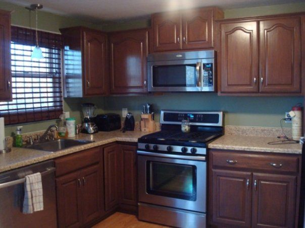 Kitchen Cabinet Paint · Dark Brown Cabinets With Light ...