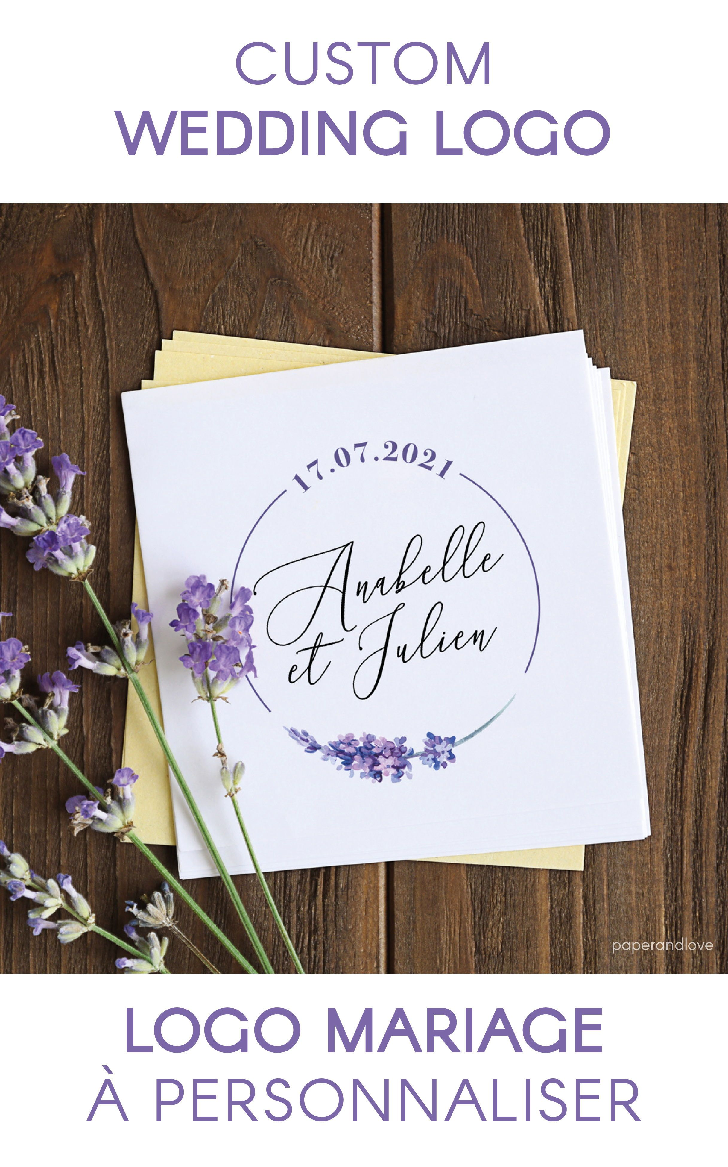Logo wedding personalized with names, dates, initials – Provence lavender, nature and purple flowers. Wedding stationery, graphics