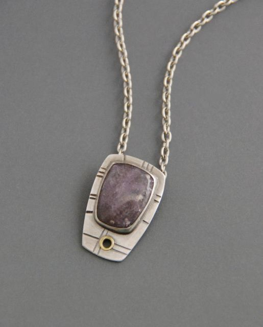 f430727a0deae Lepidolite Slide Pendant, sterling silver necklace, mixed metal ...