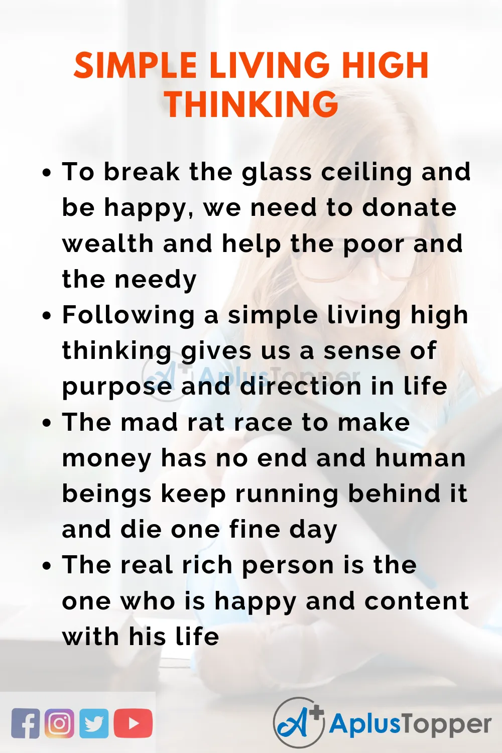 Essay On Simple Living High Thinking Essayonsimplelivinghighthinking Simplelivinghighthinkingessay Aplustopper Help The Poor About People