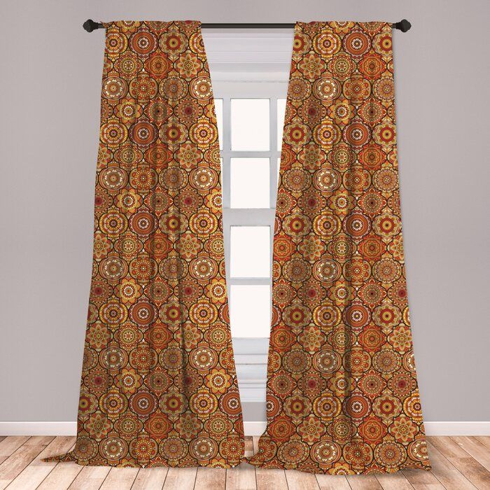 Ambesonne Moroccan Curtains, Vintage Hand Drawn Style Ottoman Trellis Floral Motifs, Window Treatments 2 Panel Set For Living Room Bedroom Decor, 56″ X 63″, Orange Yellow Brown