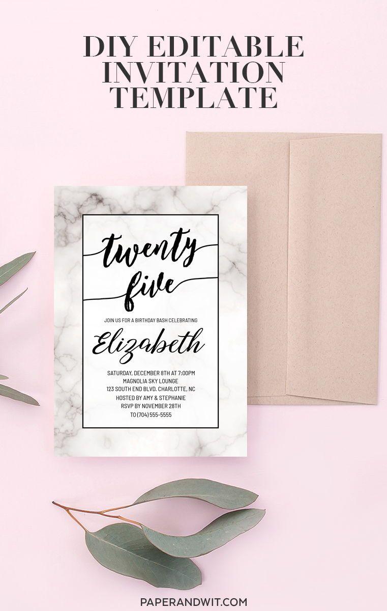 25th Birthday Invitations For Women 25th Birthday Invite Marble Birthday Invitation Black A Invitation Template Custom Anniversary Gift Editable Invitations