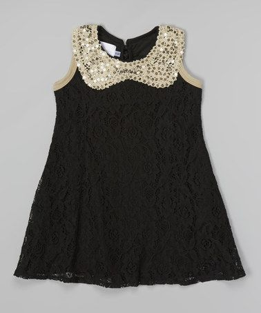 Another Great Find On Zulily Gold Black Lace Sequin Collar Dress