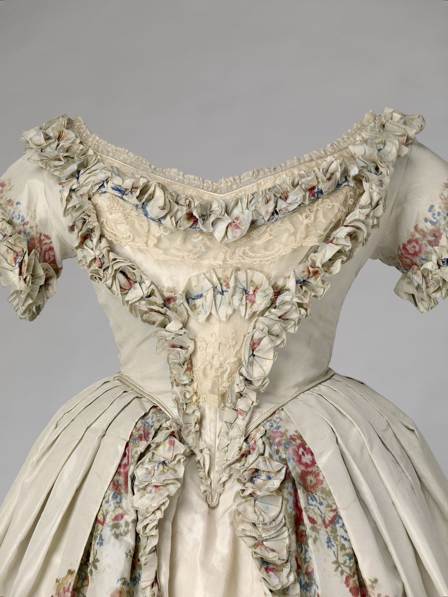 Evening dress of Queen Victoria, 1851. Silk and lace