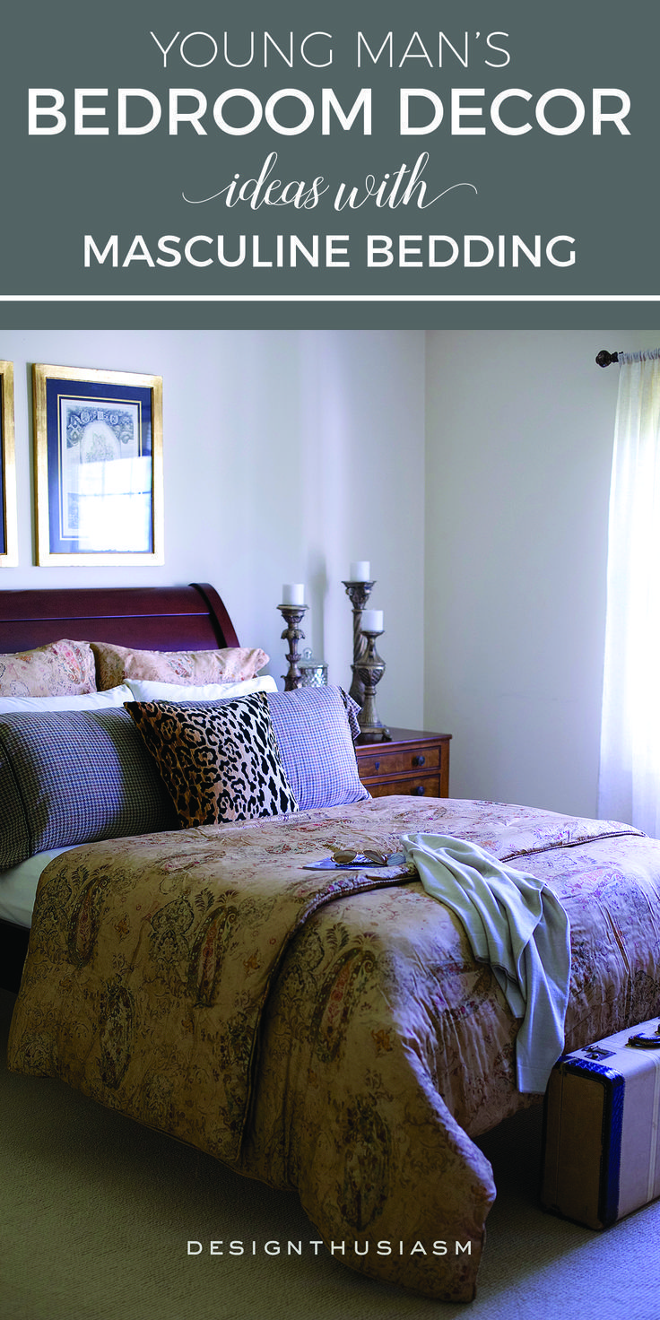 Young manus bedroom decor ideas with masculine bedding bachelor