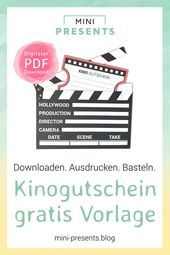 Kinogutschein als Filmklappe basteln   - DIY & Crafts ✄ (Group Board) | AMAZING IDEAS - #als #Amazing #basteln #Board #crafts #DIY #Filmklappe #Group #Ideas #Kinogutschein #kinogutscheinbasteln