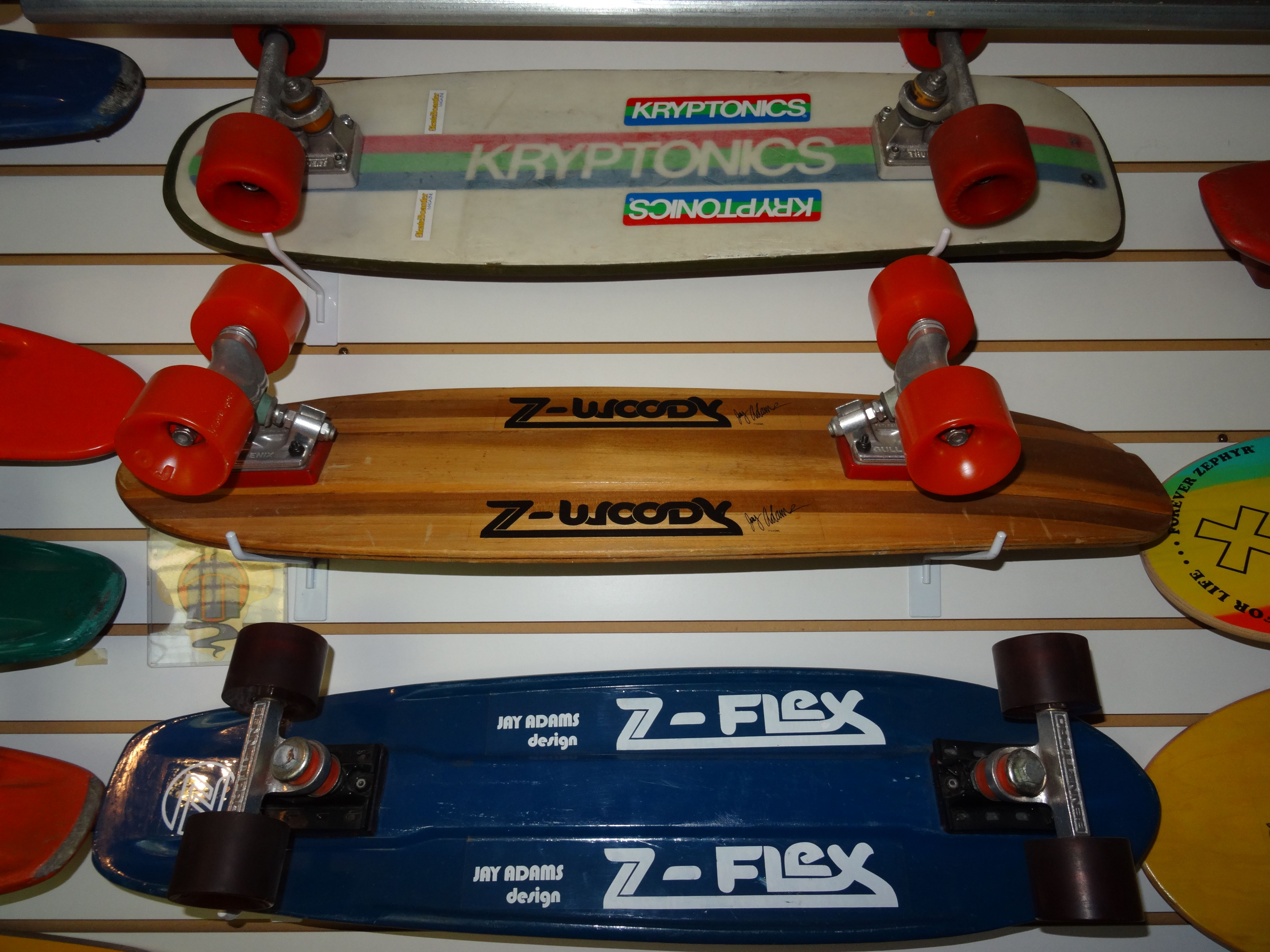 Bob Bekian S Skateboard Collection Includes These Rare Jay Adams Z Flex Boards From 1978 Jayadams Dog Skateboard Design Vintage Skateboards Skateboard Images