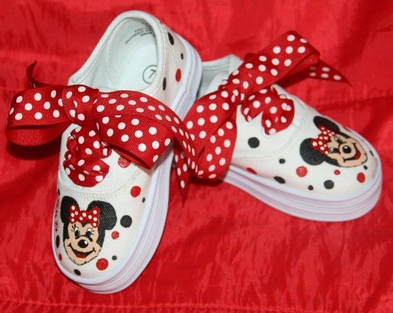 Girls Custom Painted Tennis Shoes MINNIE MOUSE INSPIRED Classic Red and Black Any Size