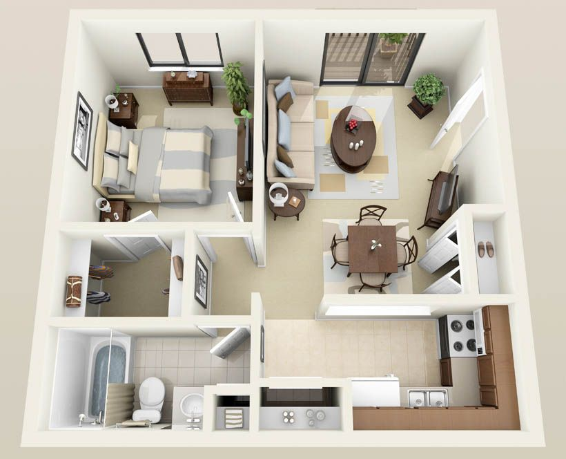 one bedroom apartments with washer and dryer