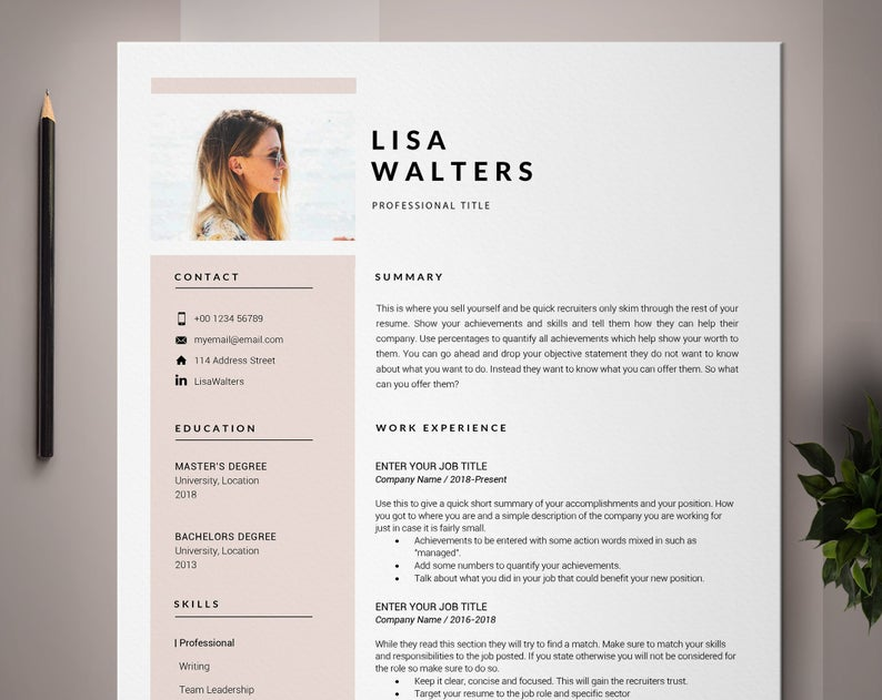 Professional Resume Template For Pages Cv Template Simple Etsy Resume Template Professional Resume Template Cv Template