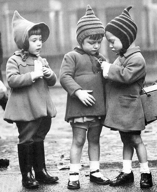 London 1940's precious Children kids black white sepia - LOVE THE HATS!