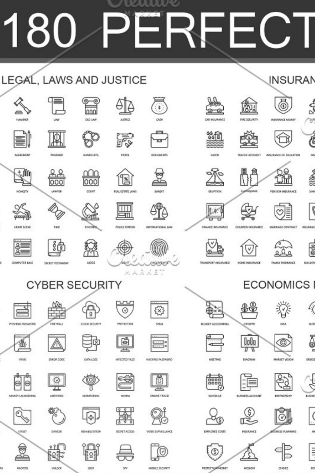 180 Perfect Line Icons In 2020 Line Icon Web Design Icon Cyber Security