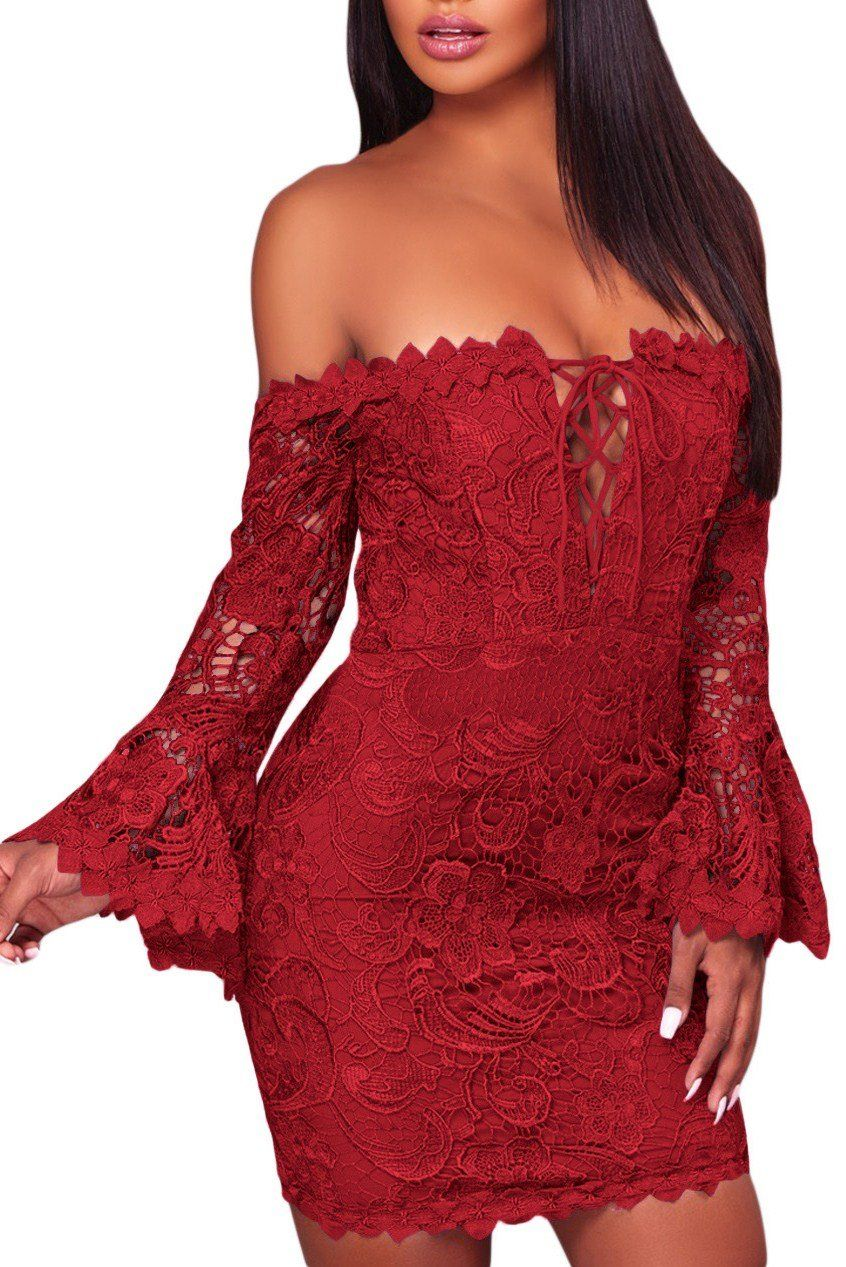 Red crochet lace overlay off the shoulder fitted mini dress lace