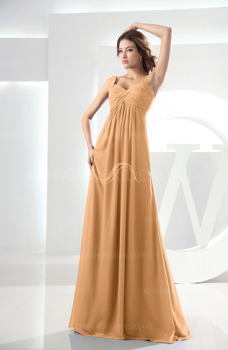 Apricot modest empire thick straps zipper floor length ruching prom