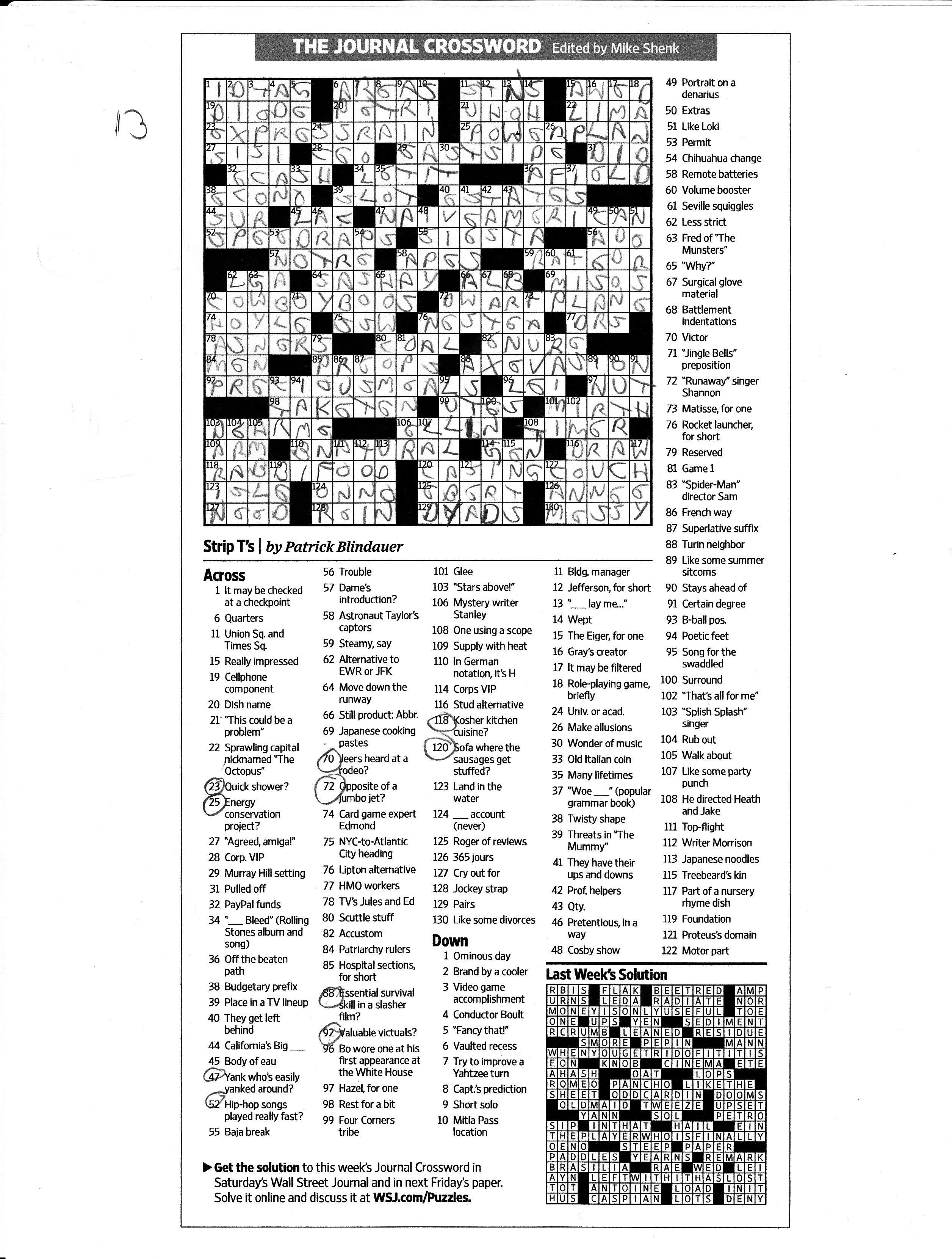 wall street journal crossword puzzles crossword puzzles on wall street journal crossword id=43134