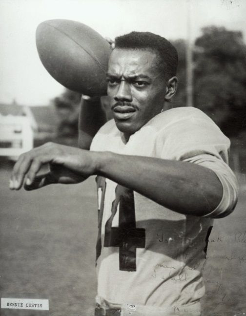Bernie Custis: Football Pioneer,  was told by NFL Cleveland Browns he could not play NFL pro-football because of his skin colour.  He played for the Hamilton Tiger-Cats of the Canadian Football League, the first pro-football black. Later he became an Ontario teacher and principal.
