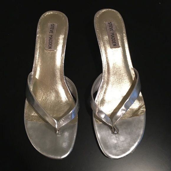 Silver Sandals Silver sandals from Steve Madden. In fair condition, very comfortable and have a low heel. Steve Madden Shoes Sandals