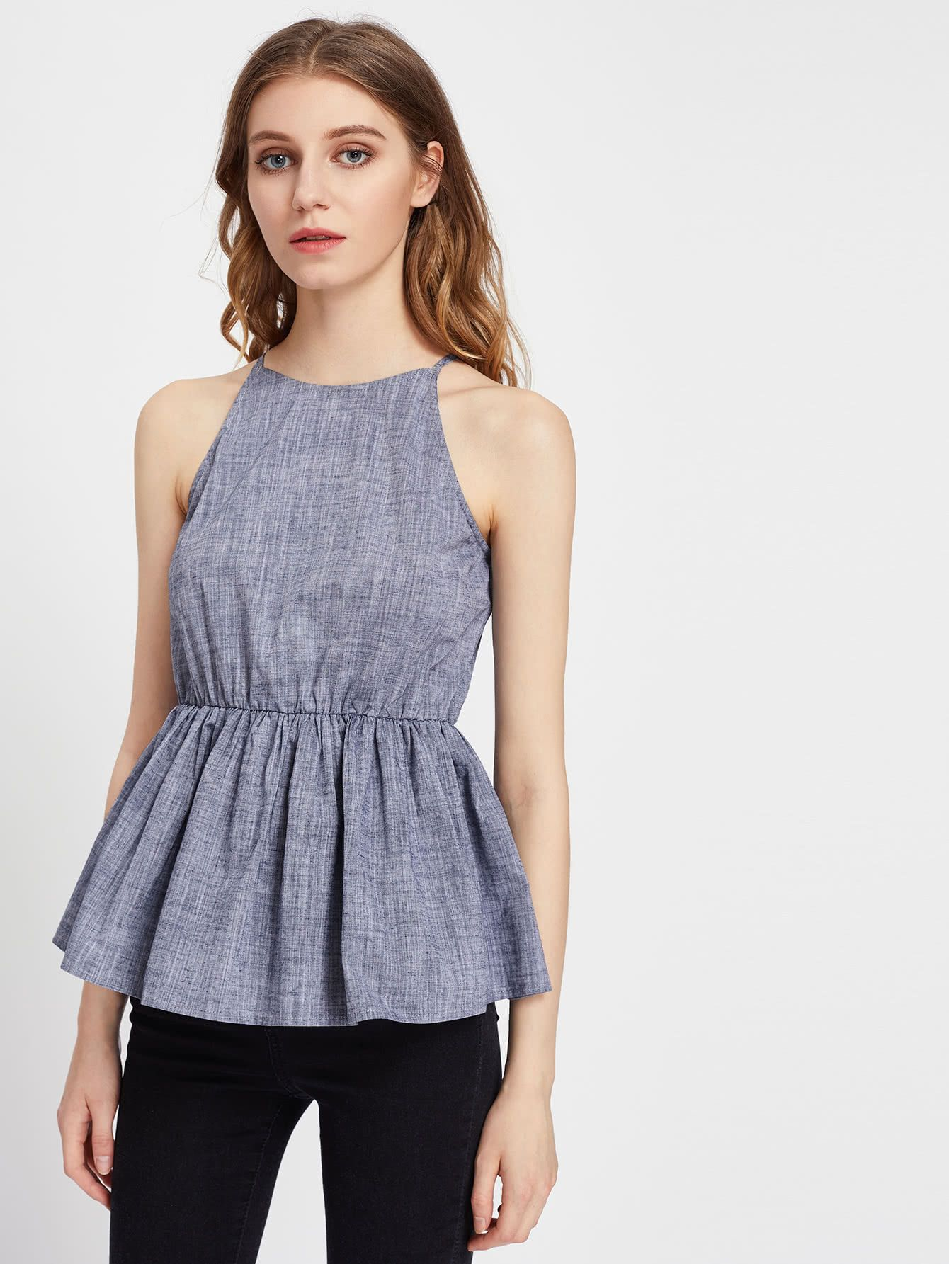 Shop Keyhole Back Linen Look Racer Peplum Cami Top online. SheIn offers Keyhole Back Linen Look Racer Peplum Cami Top & more to fit your fashionable needs.