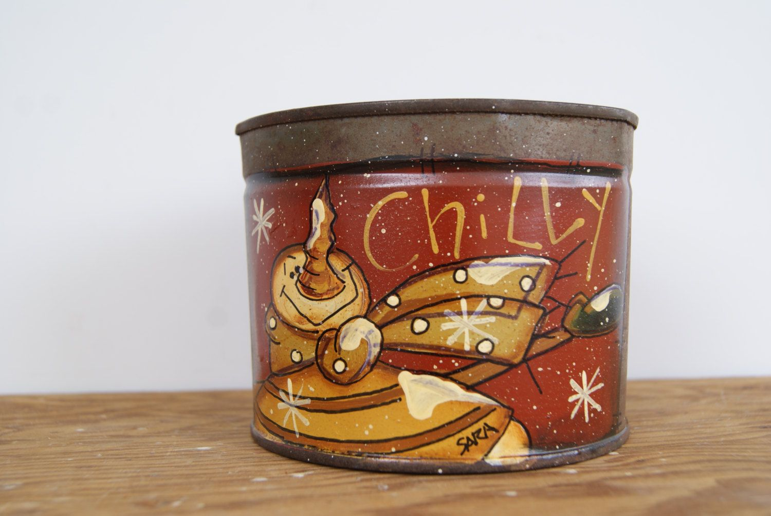Christmas Snowman Tin Candleholder ~ Hand Painted Rustic Can Christmas Decoration ~ Country Home Christmas Decor ~ Chilly - pinned by pin4etsy.com