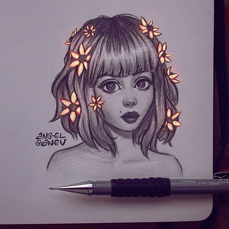 "Angel Ganev on Instagram: ""Glowy Flower Hair~😍✨ Little Sunday pencil sketch while trying to not fall asleep lol 🙈 . Btw new YouTube video and a podcast episode…"""
