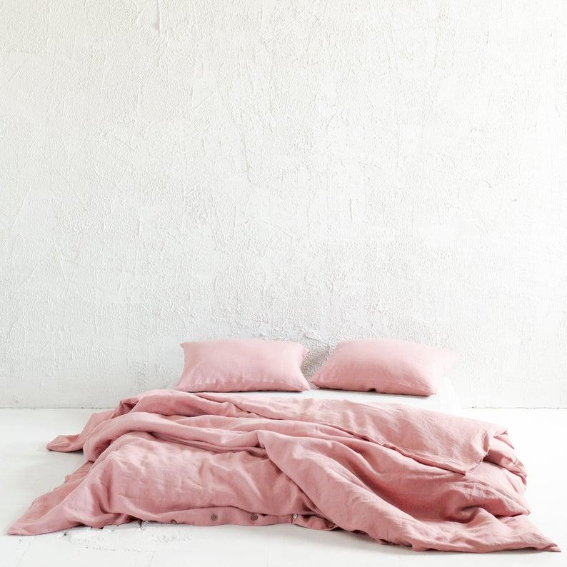 Dusty Rose Linen Duvet Cover Muted Light Pink Linen Bedding Linen Duvet Covers Linen Duvet Pink Duvet Cover