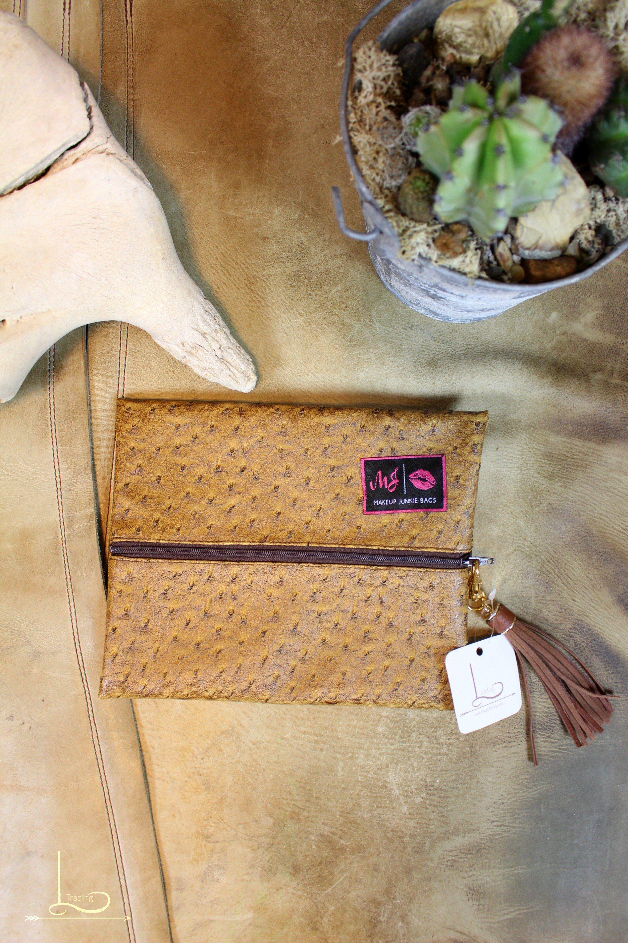 Faux Ostrich Makeup Junkie Bag Small womensfashion