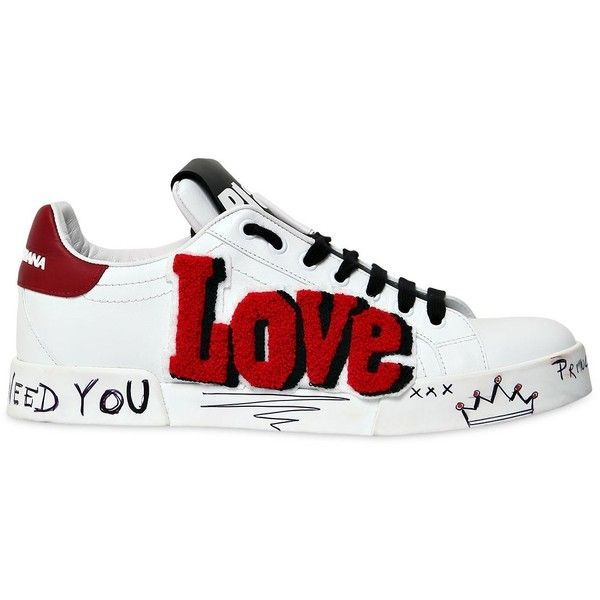 e5c41123cf74a Dolce   Gabbana Women 20mm Love   Graffiti Leather Sneakers ( 845) ❤ liked  on Polyvore featuring shoes, sneakers, rubber sole shoes, heart sneakers,  ...