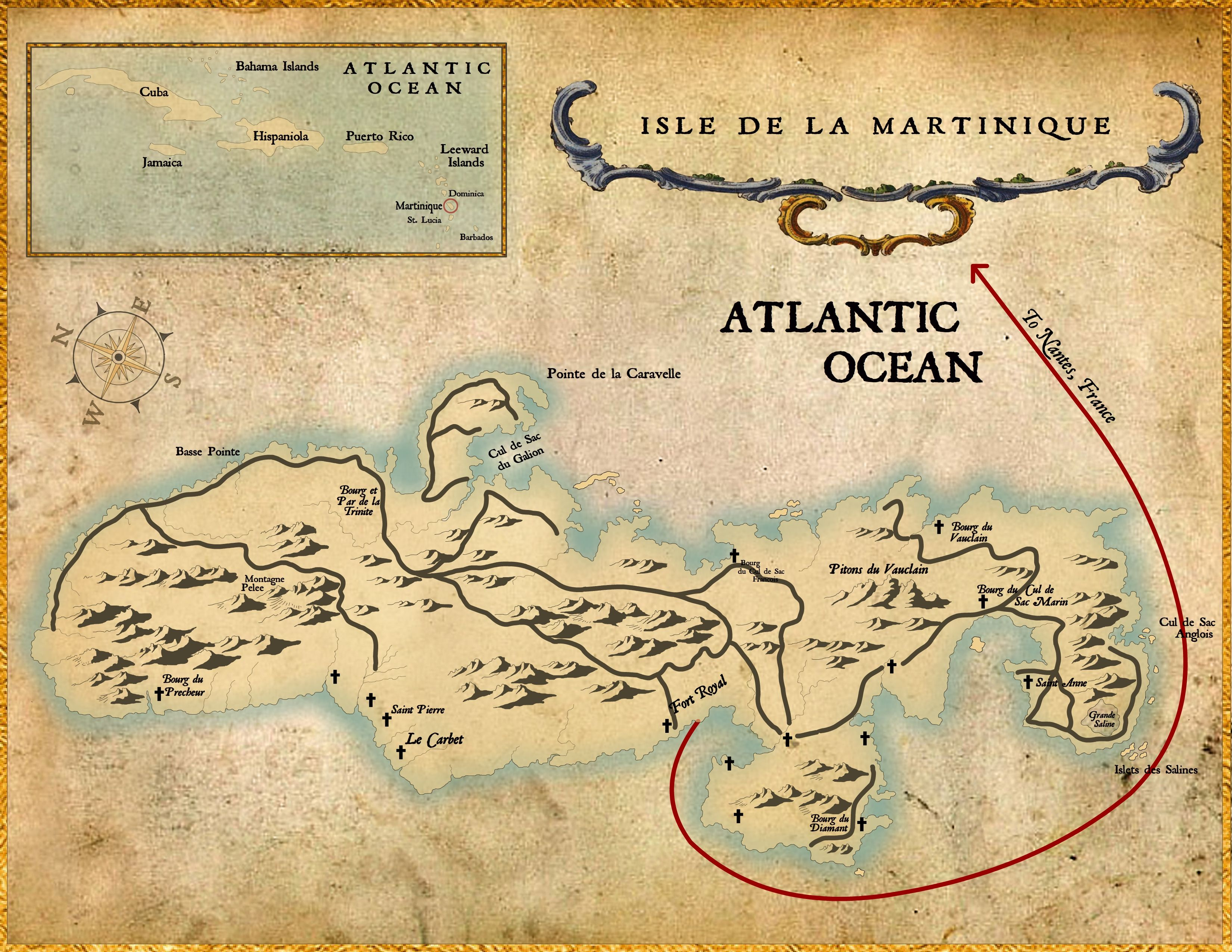 Martinique Island This Map Shows The Route Aimee