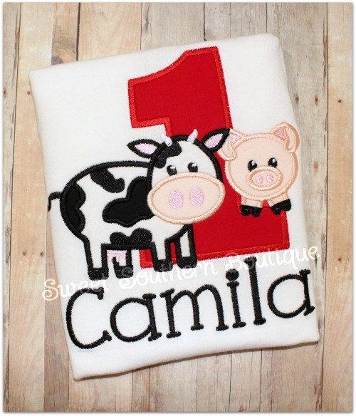 Farm Barn Barnyard Birthday Shirt Number Applique Child