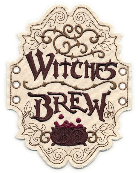 Witches Brew Apothecary Label In The Hoop Apothecary Labels Witches Brew Labels Halloween Labels