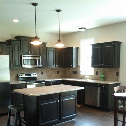 dark cabinets and dark floors tile back splash granite counter tops pendant lights kitchen on kitchen remodel dark floors id=68002
