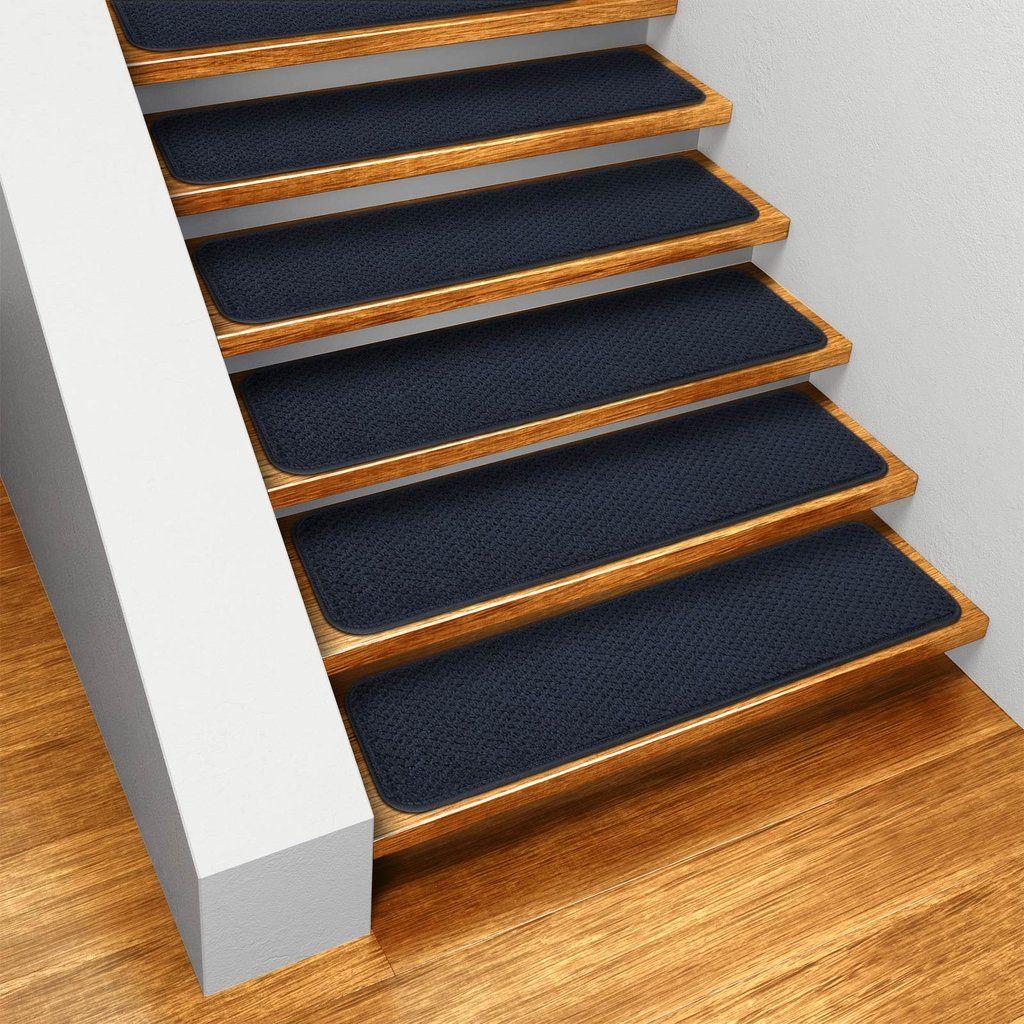 Best Set Of 12 Skid Resistant Carpet Stair Treads Navy Blue 400 x 300