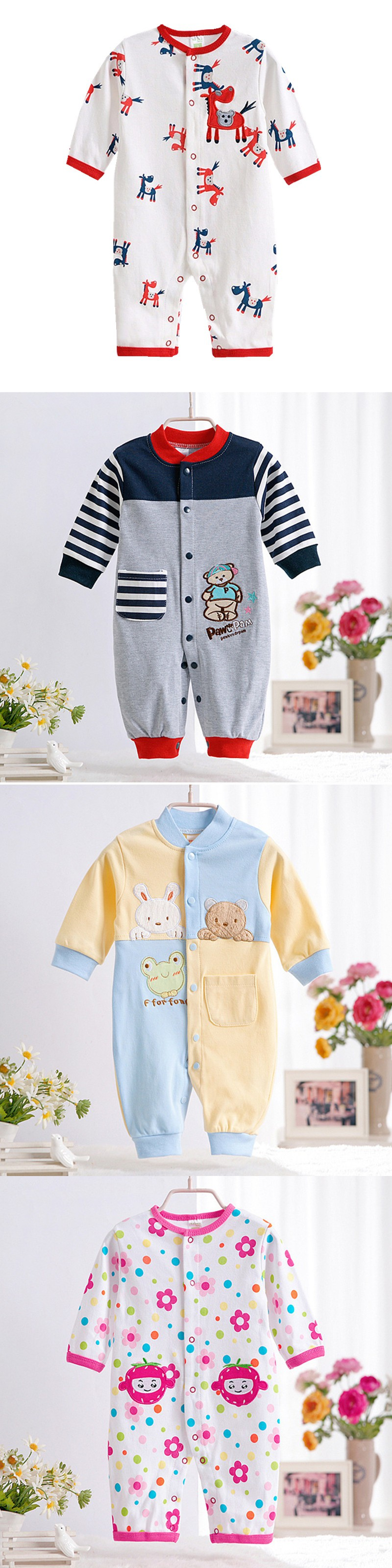 2016 Brand Baby Rompers Cotton Body suits Long Sleeve Girl Boy