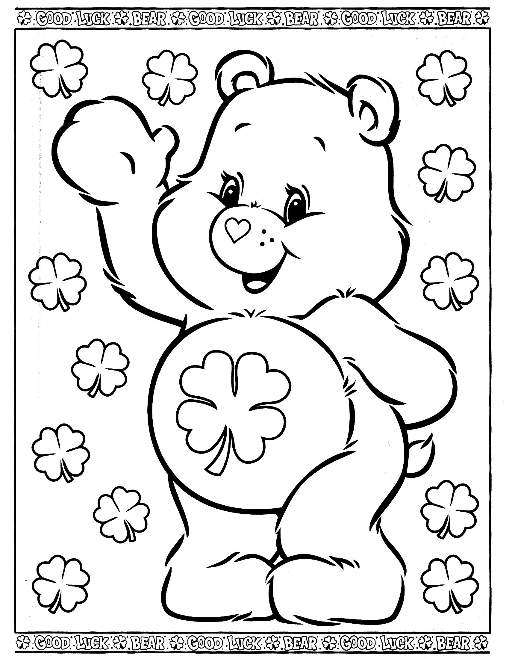 Care Bears Coloring Page Bear Coloring Pages Birthday Coloring