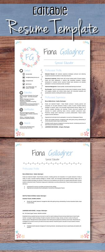 Editable Teacher Resume Template  Cover Letter And References