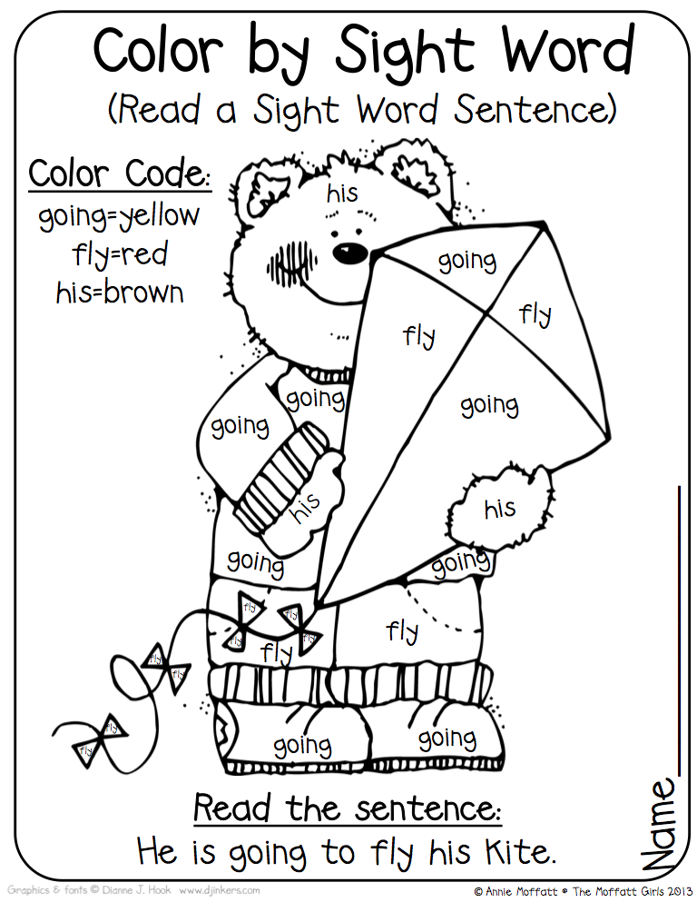 Color by sight words! Use the sight words to read a sight