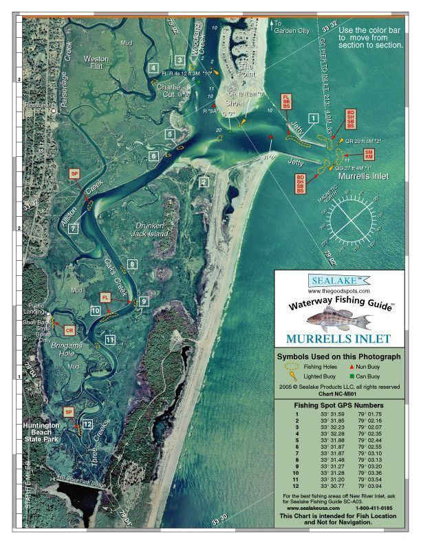 South Carolina Murrells Inlet Aerial Photo Fishing Charts