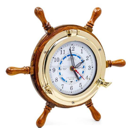 Photo of 9″ Porthole Tide Style Clock On Nautical Ship Wheel – Pirate Home Decorative Wall Hanging | Prime De
