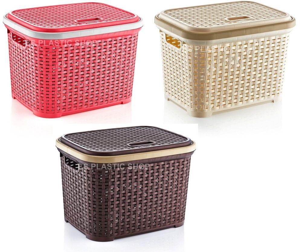 Laundry Storage Basket Hamper Rattan Kitchen Plastic Container Bin
