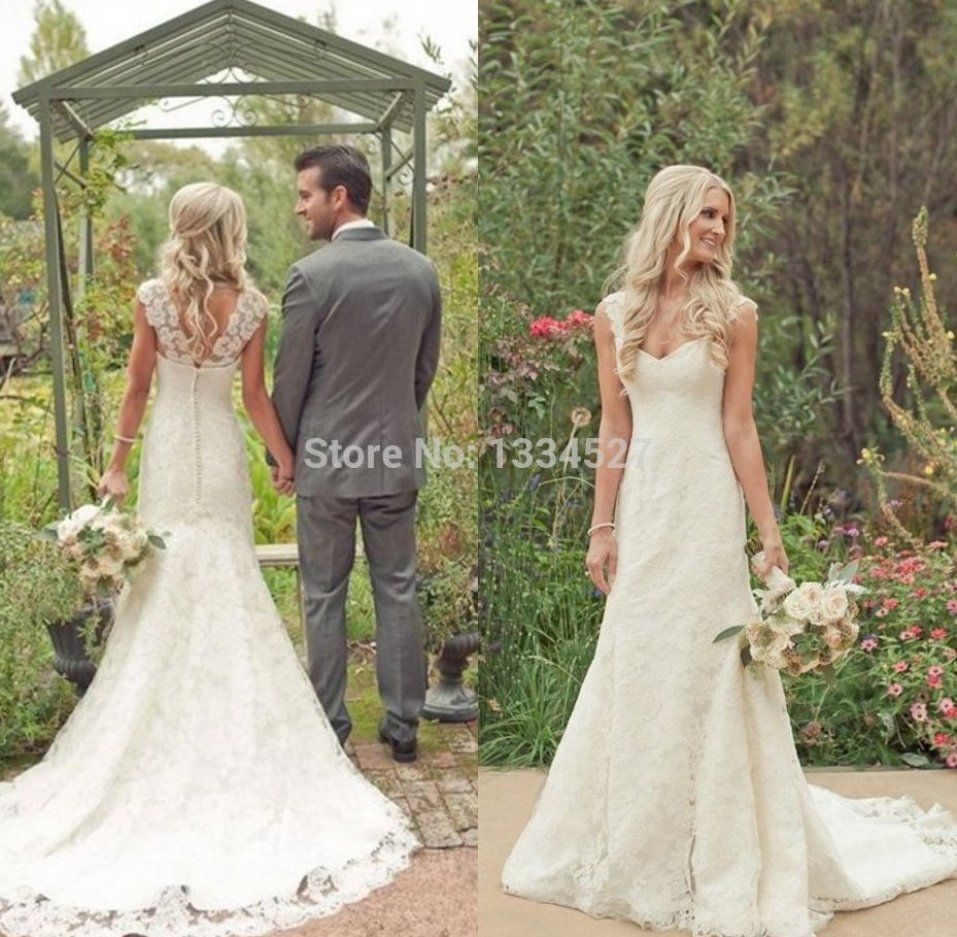 Country Style Vintage Lace Beach Wedding Dresses 2015 Cap Weddingdresses Weddingdressesvin In 2020 Wedding Dresses Short Sleeve Wedding Dress Ball Gowns Wedding