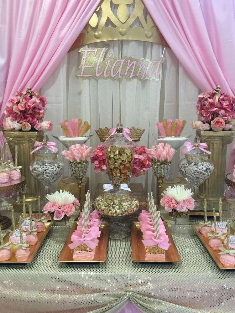 Princess Baby Shower Candy Buffet Centerpiece With Baby ...  |Princess Girl Baby Shower Ideas