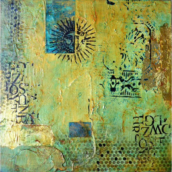 Filomena Booth Aztec Sun I Acrylic Painting ($255) ❤ liked on ...