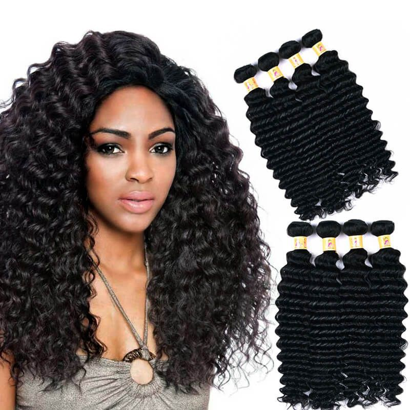 Virgin Indian Hair Deep Wave Weave Hair Extensions 4 Bundles 1b